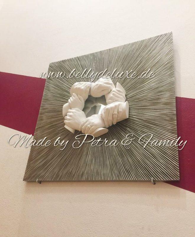 Familien Handabdruck auf Bilderrahmen