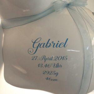 Motivfolie Sticker Aufkleber fuer Gipsabdruck Babybauch mit Name und Geburtsdatum