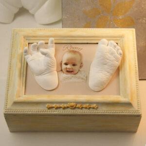 Baby Erinnerungsbox mit 3d Handabdruck Fussabdruck