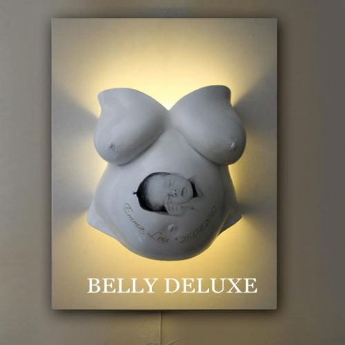 Babybauch Gipsabdruckl als Lampe, indirekt beleuchtet