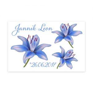 Motivfolie mit 3 blauen Lilien