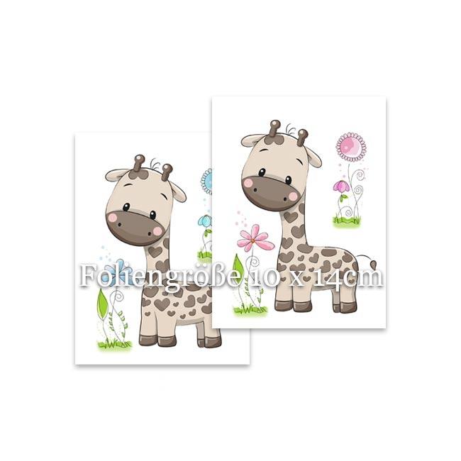 Babybauchabdruck Motivfolie mit einer Giraffe und Blümchen