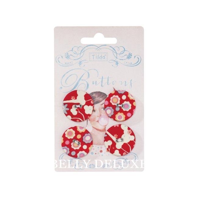 "4 Tilda Knöpfe ""Candy Rose"" 25mm"