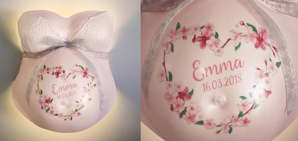Galerie 2 Babybauchabdruck Mit Schmetterling Ornamente Und Blumen