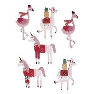 Aufkleber Lama Flamingo