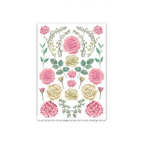 Motivfolie für den Gipsabdruck Babybauch mit Rosen und Hortensien