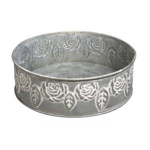 Schale aus Metall mit Rosenmuster