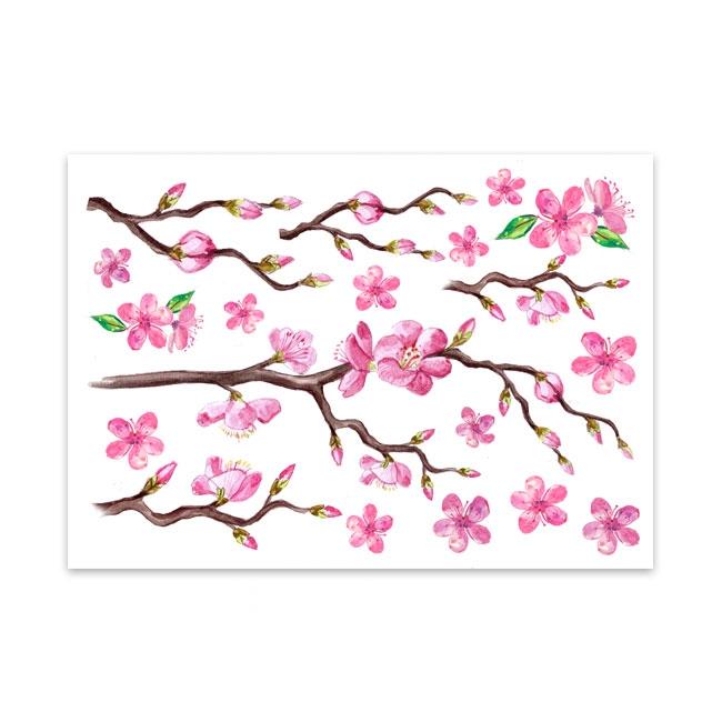 Motiv für den Gipsabdruck mit Kirschblüten