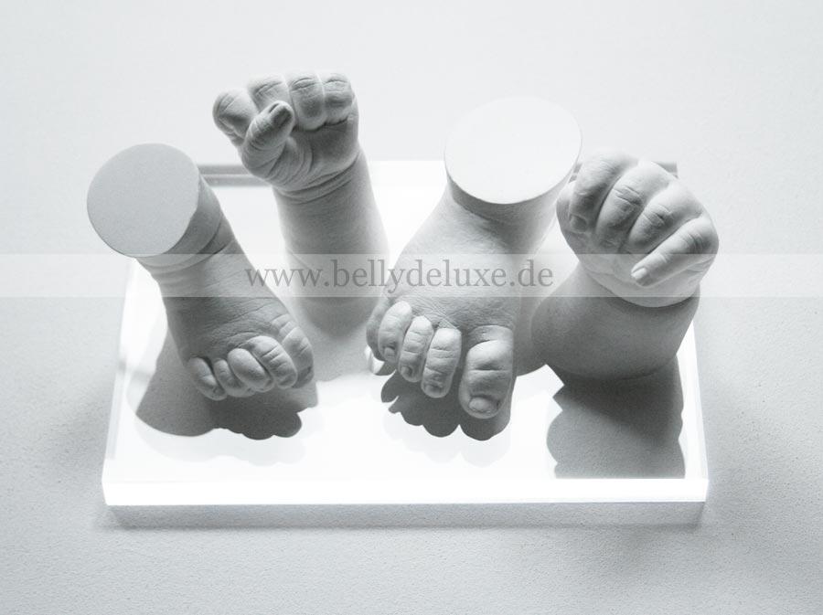 3d Baby Handabdrücke und Fußabdrücke auf Acrylsockel