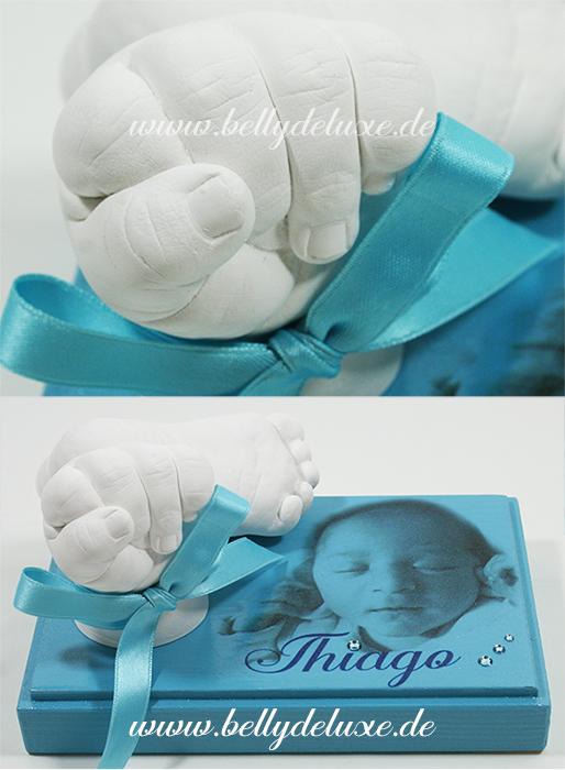 Baby Handabdruck auf Holzsockel mit Foto Motivfolie