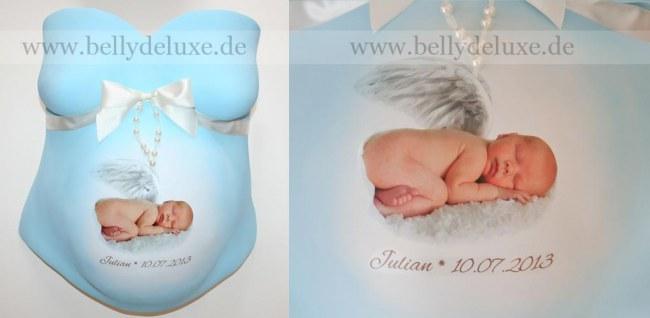 Gipsabdruck Babybauch Engel Foto Motivfolie