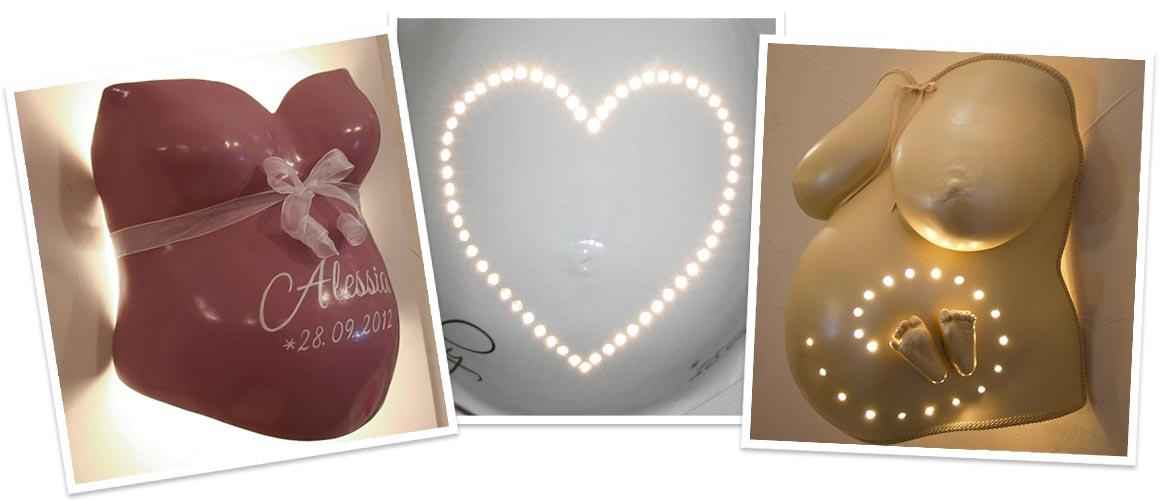 Gipsabdruck Babybauch als Lampe und mit LED Beleuchtung