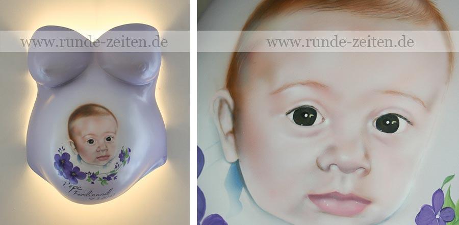 Gipsabdruck Babybauch mit Airbrush Bemalung