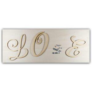 Love Rahmen Set mit Holzplatte, Holzbuchstaben und Haken