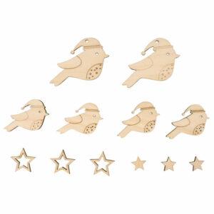 Holz Deko Vögel und Sterne