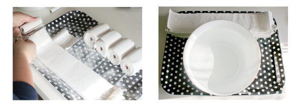Weiße Gipsbinden schneiden für den Babybauch Gipsabdruck
